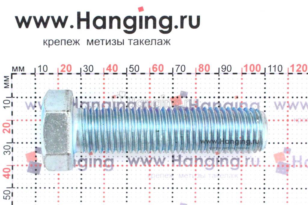 Размеры оцинкованного болт 20х80 с полной резьбой 8.8