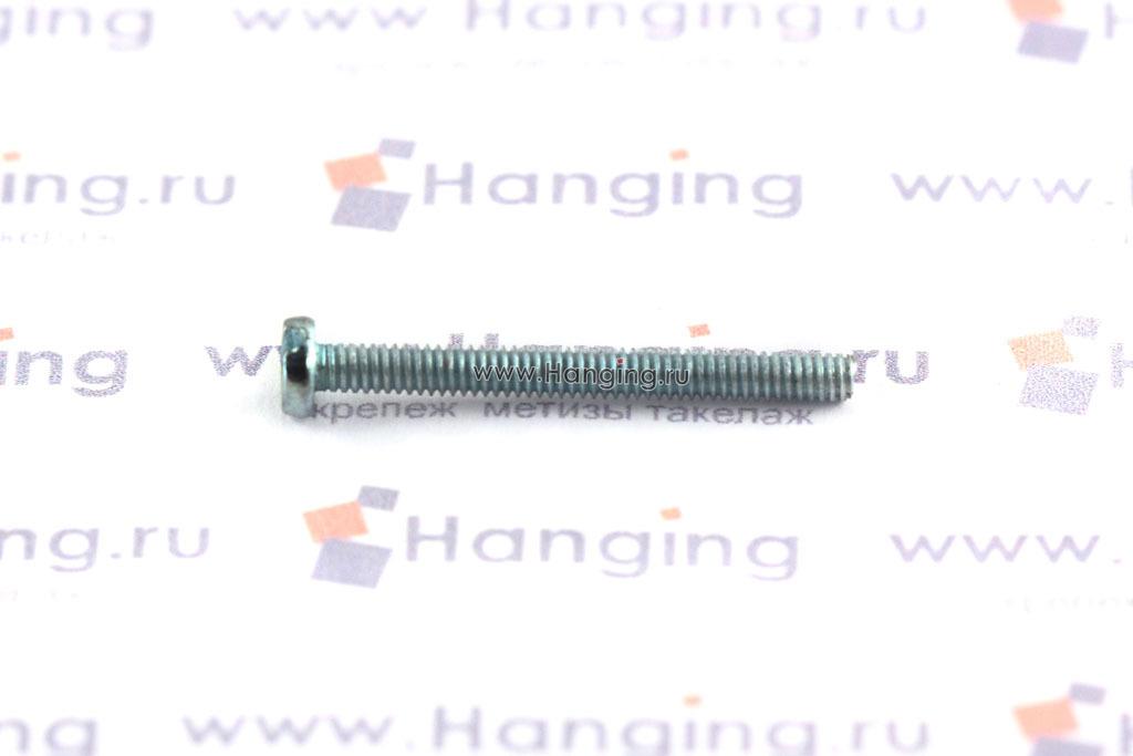 Оцинкованный винт DIN 84 М2х18 класса прочности 4.8 с цилиндрической головкой и прямым шлицем