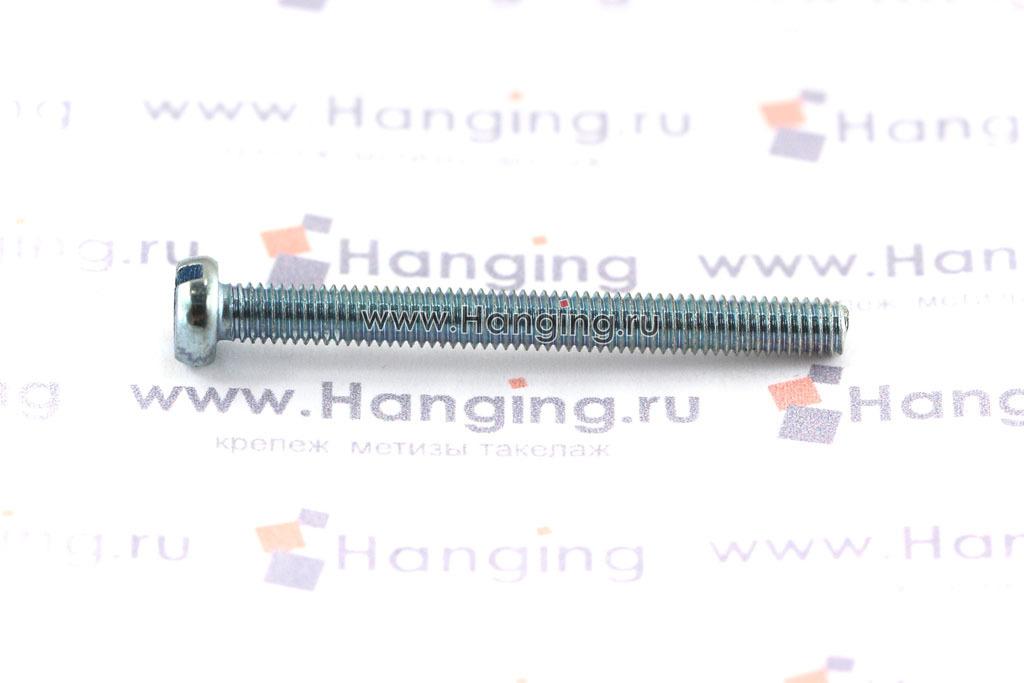 Оцинкованный винт DIN 84 М3х28 класса прочности 4.8 с цилиндрической головкой и прямым шлицем