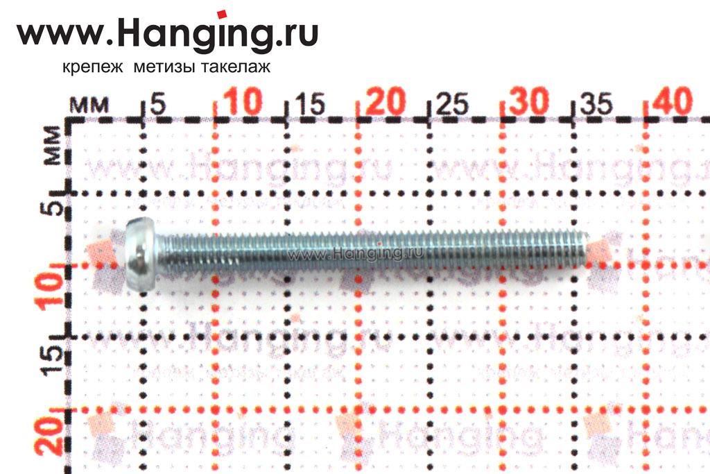 Размеры винта с цилиндрической головкой М3*28 по стандарту DIN 84 ГОСТ 1491-80