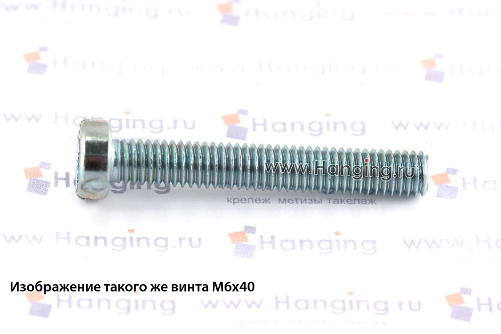 Оцинкованный винт DIN 84 М6х50 класса прочности 4.8 с цилиндрической головкой и прямым шлицем