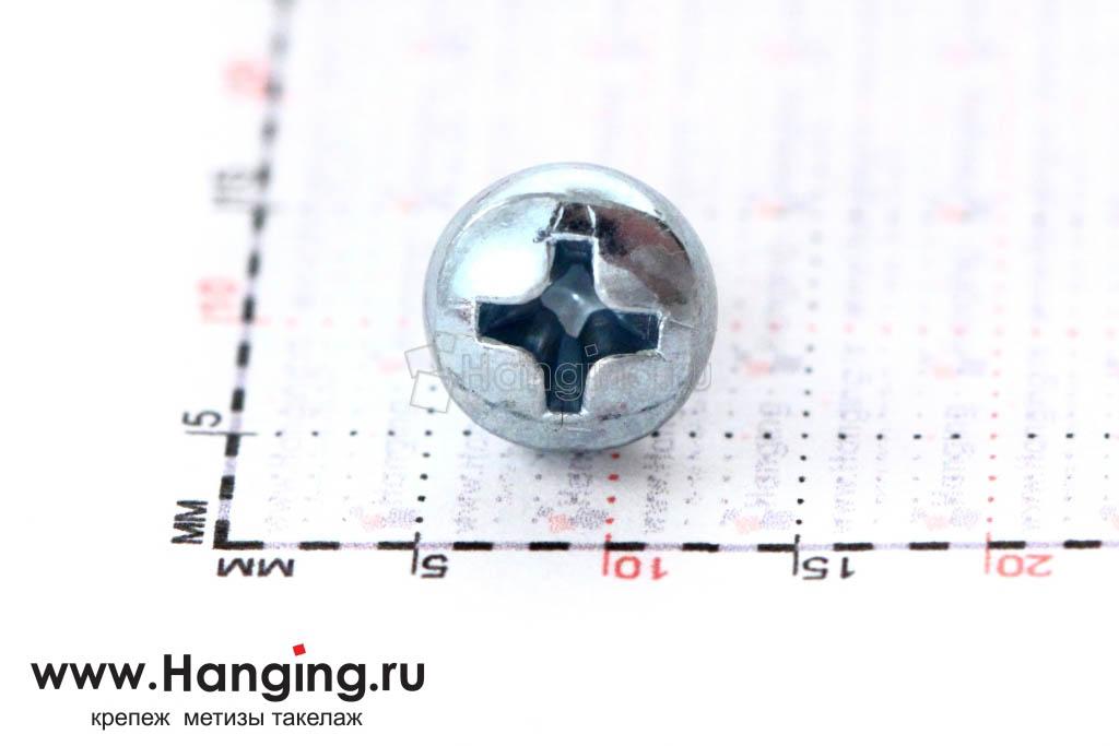 Головка винта цинк М4х6 с полусферической головкой