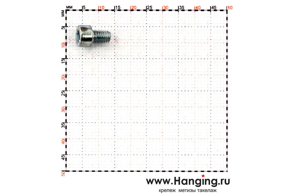Размеры болтов М4х6 оцинкованных с шестигранником класса прочности 8.8 DIN 912