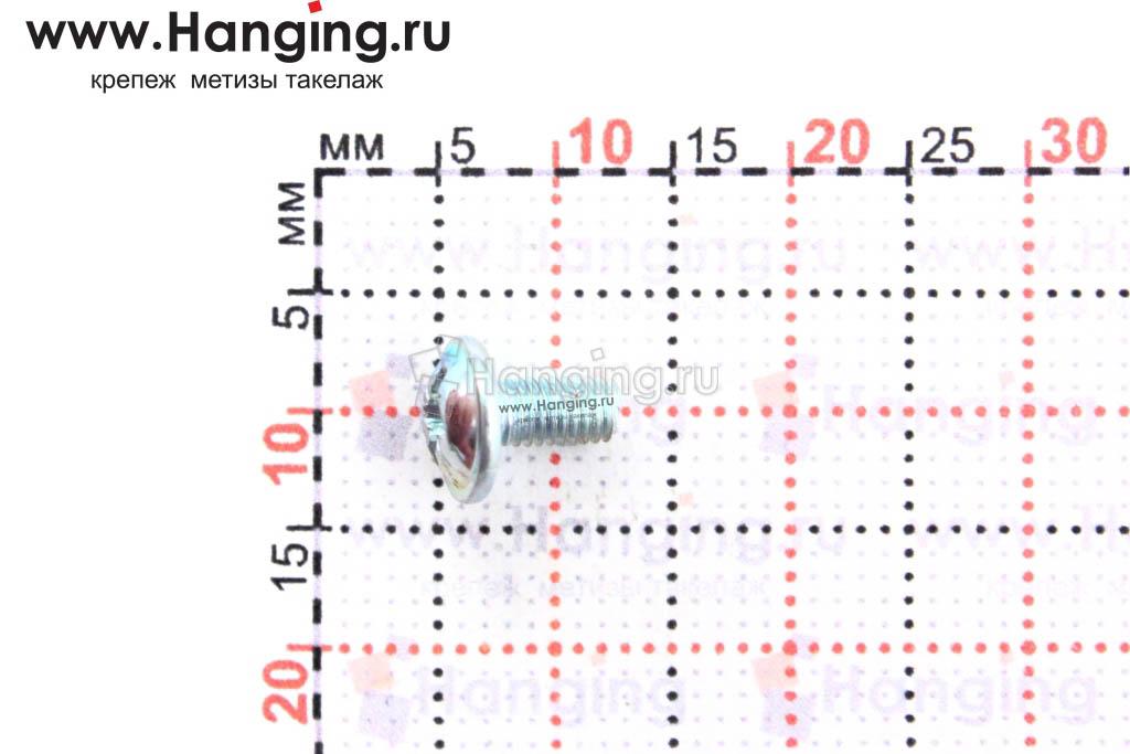 Размеры винта DIN 967 М3х6 оцинкованного