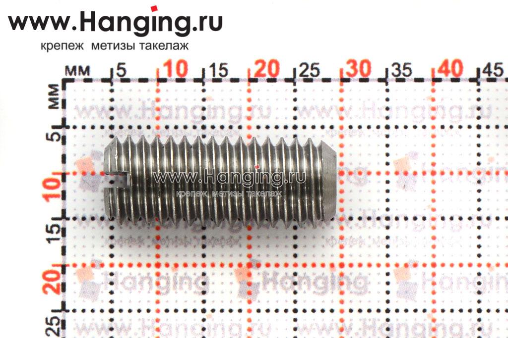 Размеры винта М10х25 с прямым шлицем и плоским концом из стали без покрытия, DIN 551