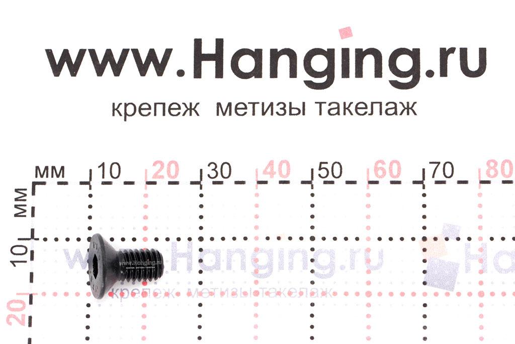 Размеры винта М6х12 DIN 7991 с потайной головкой и внутренним шестигранником