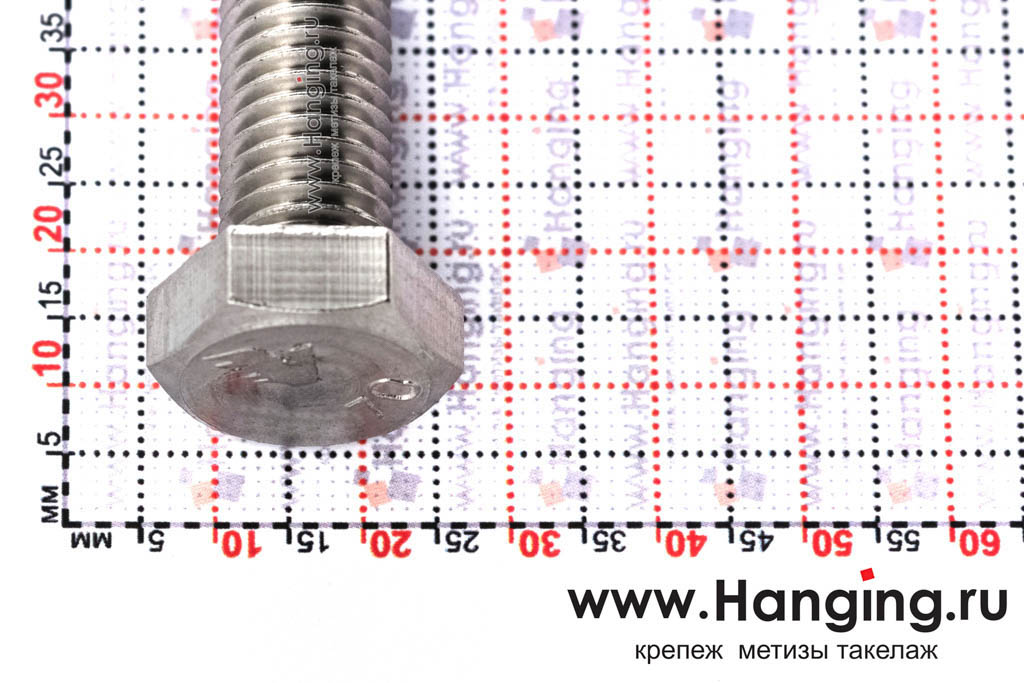 Головка болта М12х30 из нержавеющей стали А4 DIN 933