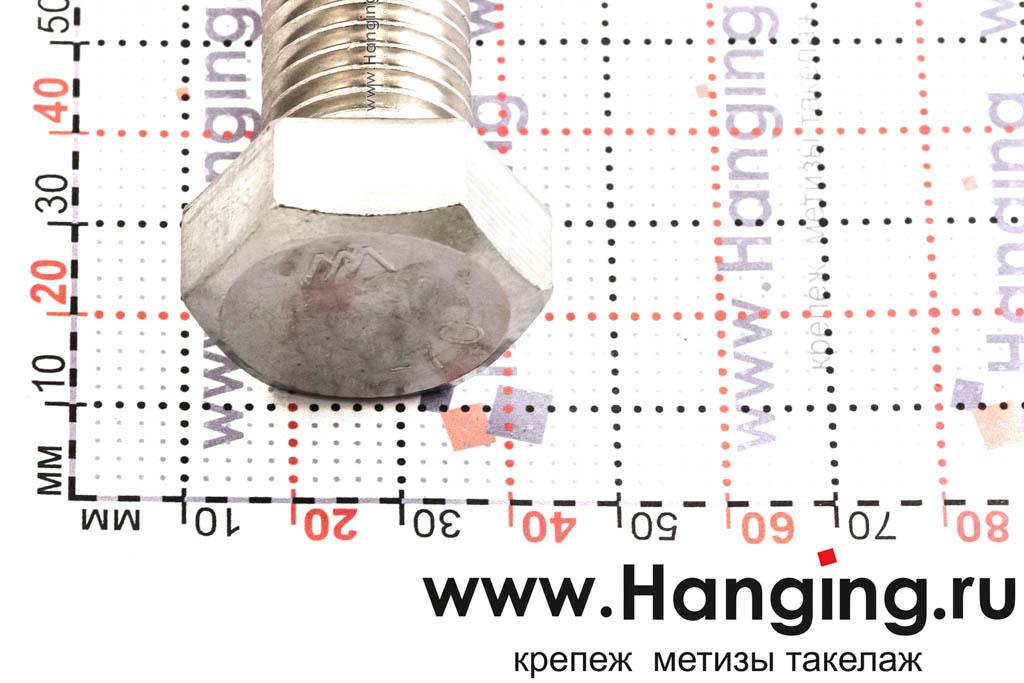 Головка болта М20х80 из нержавеющей стали А4 DIN 933