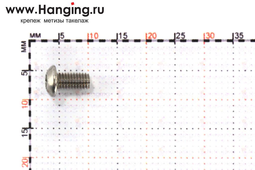 Размеры винта М3х6 с внутренним шестигранником и полусферической головкой из нержавеющей стали А2 DIN 7380