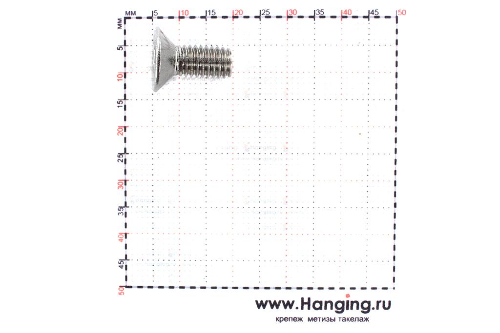 Размеры винта М6х14 с внутренним шестигранником и потайной головкой из нержавеющей стали А2 DIN 7991