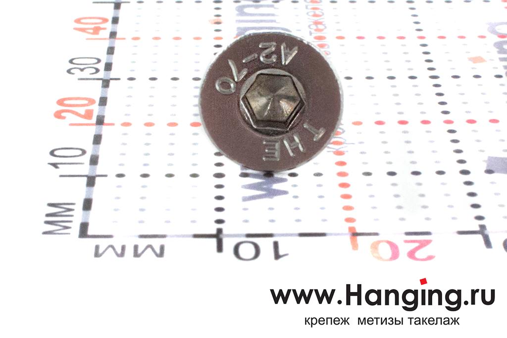 Головка винта М6х14 с внутренним шестигранником и потайной головкой из нержавеющей стали А2 DIN 7991
