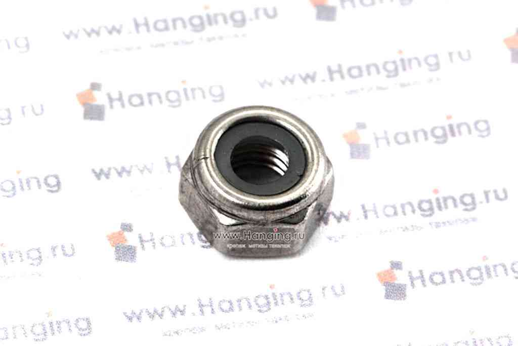 Гайка М6 шестигранная со стопорным кольцом из нержавеющей стали А4 DIN 985