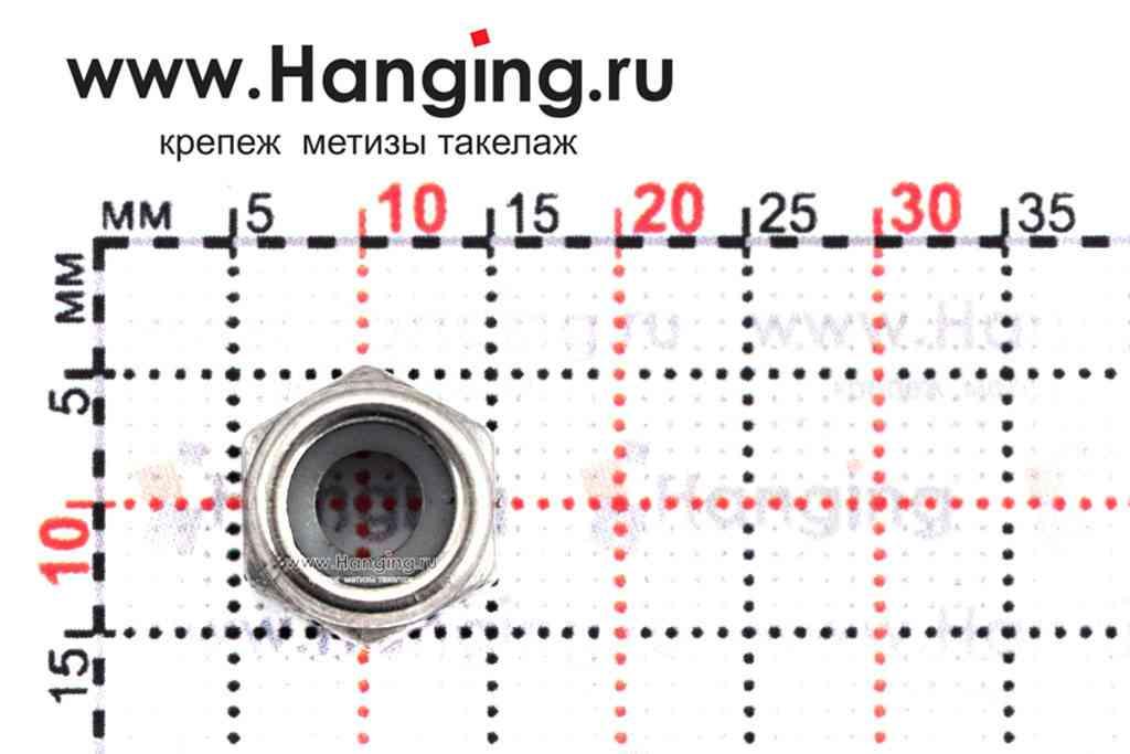 Размеры гайки М6 шестигранной со стопорным кольцом из нержавеющей стали А4 DIN 985
