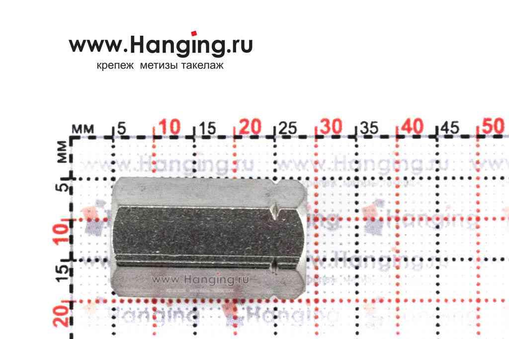 Высота гайки М8 шестигранной соединительной из нержавеющей стали А2 DIN 6334