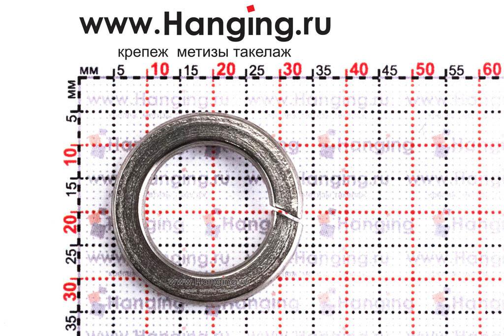 Размеры шайбы М18 пружинной (гровера) из нержавеющей стали А2 DIN 127