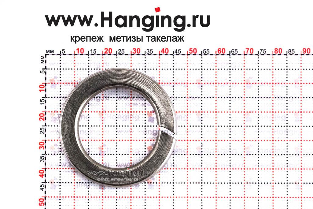 Размеры шайбы М27 пружинной (гровера) из нержавеющей стали А4 DIN 127