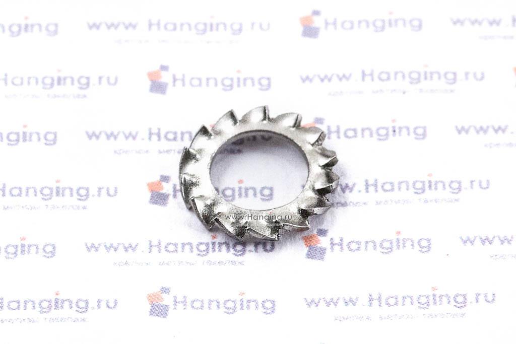 Шайба М8 стопорная с наружными зубьями из нержавеющей стали А2 DIN 6798 Form A