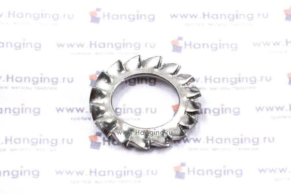 Шайба М10 стопорная с наружными зубьями из нержавеющей стали А2 DIN 6798 Form A