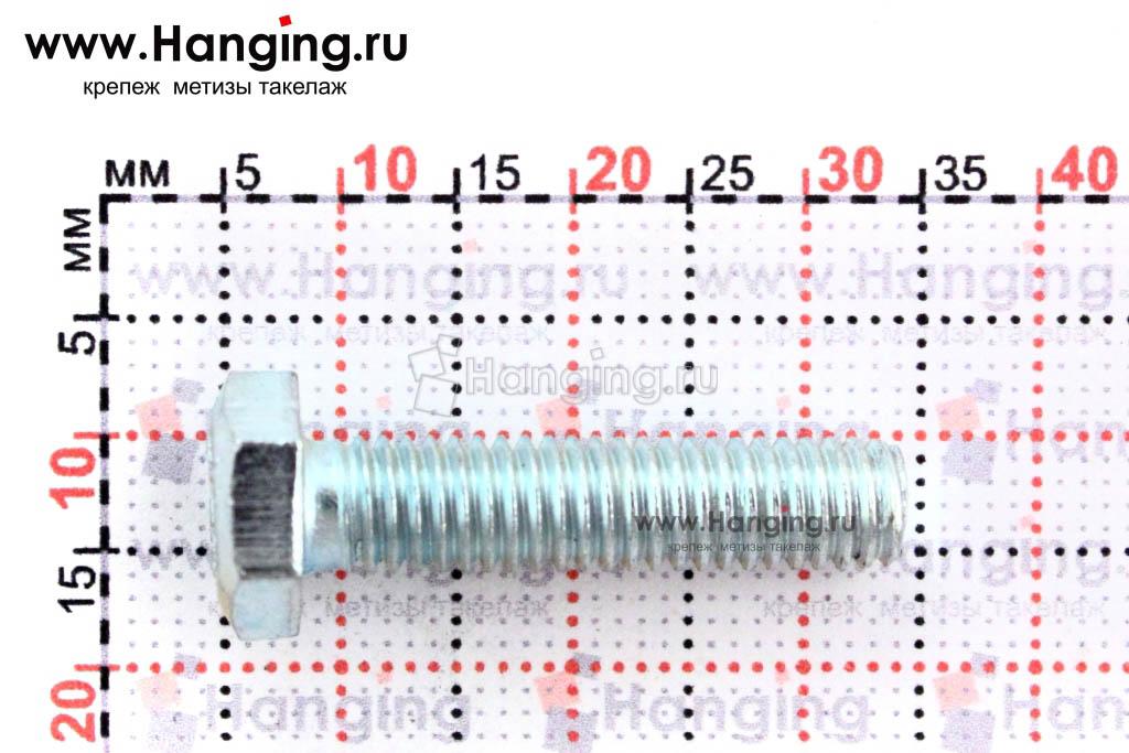 Размер резьбы оцинкованного болта с полной резьбой М6х25 класса прочности 4.8