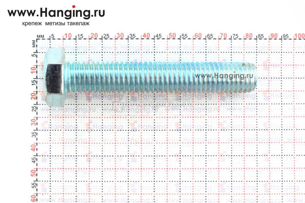 Размер резьбы оцинкованного болта с полной резьбой М12х70 класса прочности 4.8