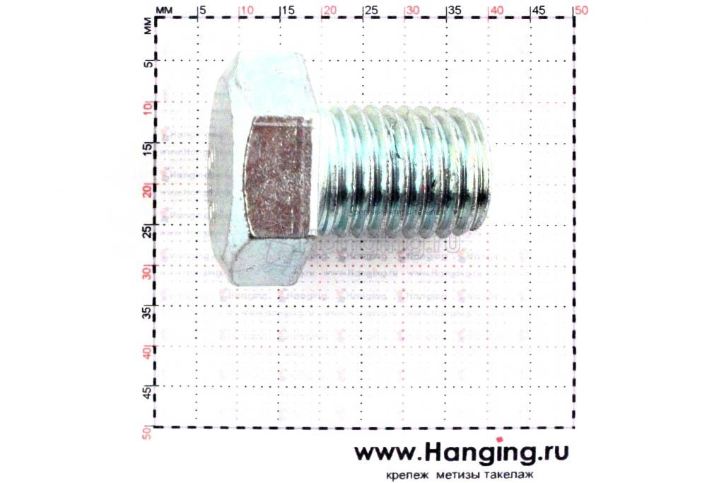 Размер резьбы оцинкованного болта с полной резьбой М16х20 класса прочности 4.8
