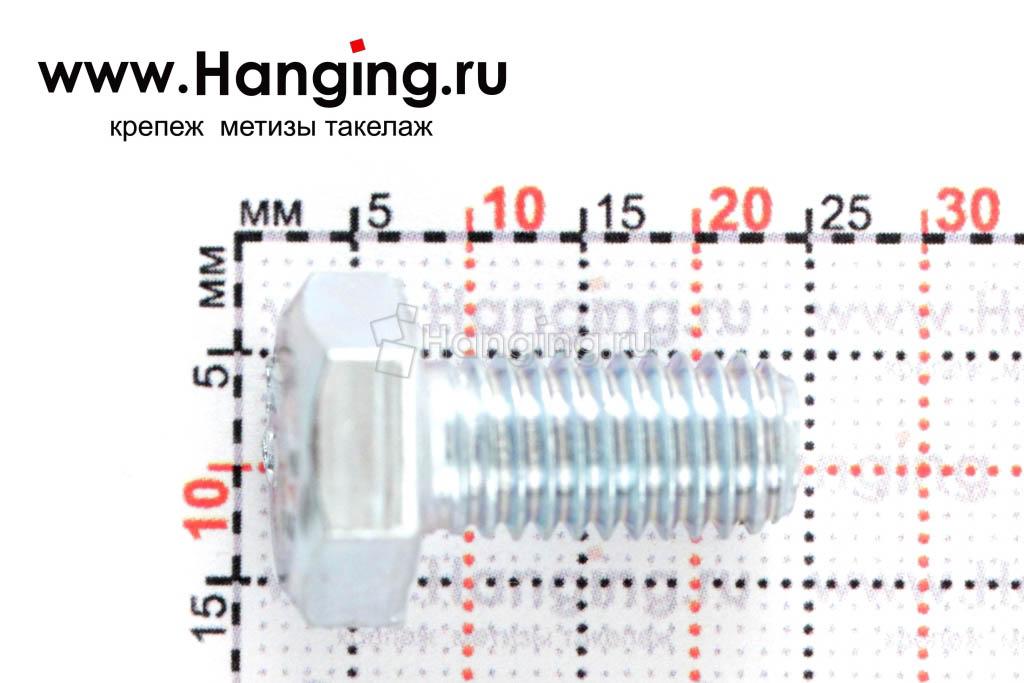 Размер резьбы оцинкованного болта с полной резьбой М8х16 класса прочности 4.8