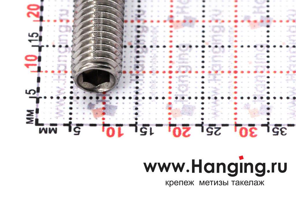 Головка винта М8х35 установочного с внутренним шестигранником из нержавеющей стали А2 DIN 913