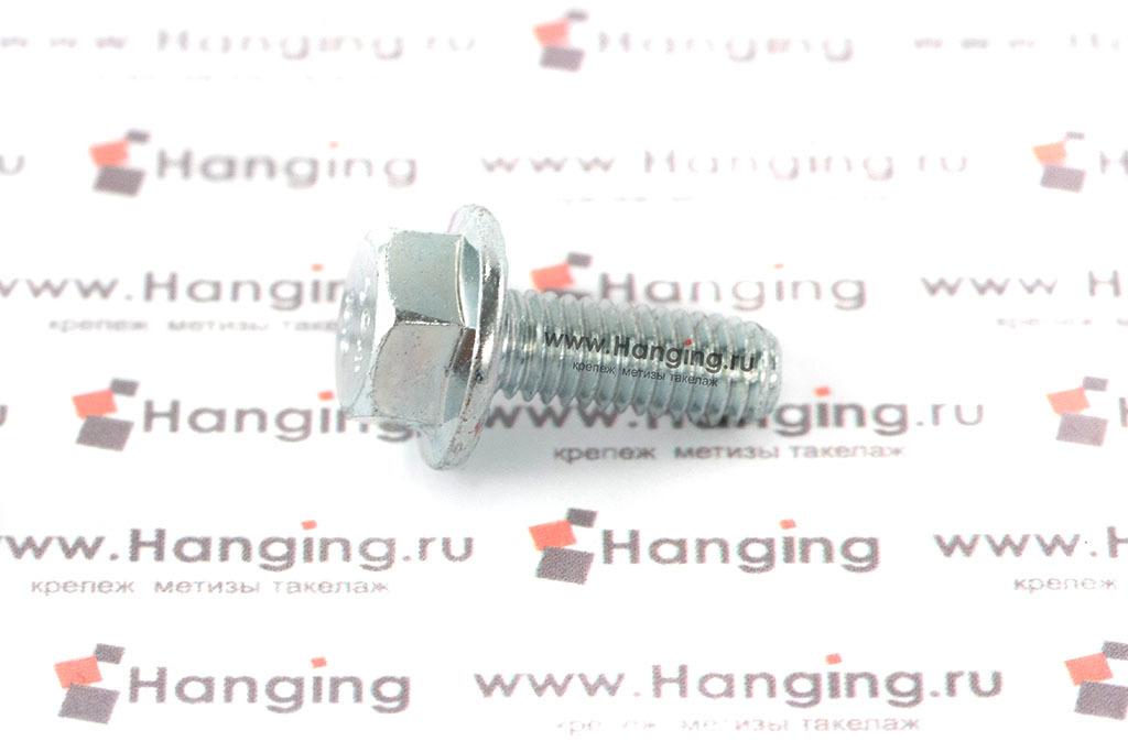 Оцинкованный болт DIN 6921 М6х16 класса прочности 10.9 с шестигранной головкой и фланцем (ГОСТ Р 55739-2013)