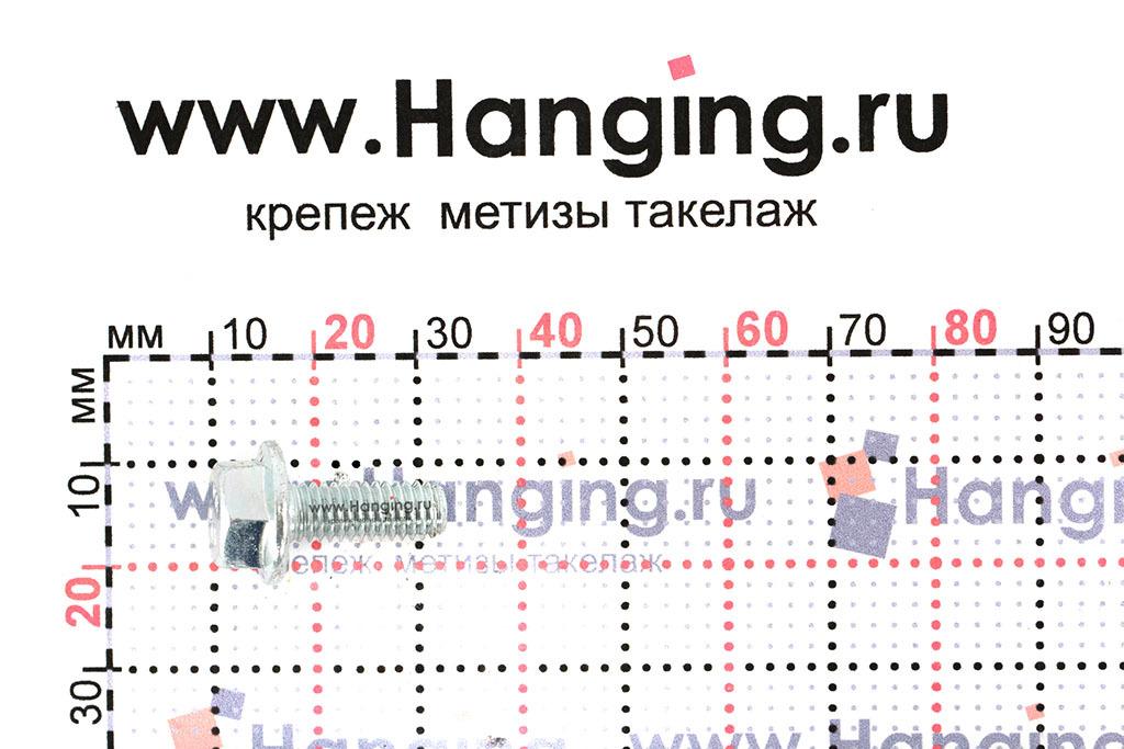 Размеры болта с фланцем DIN 6921 6*16 цинк класса прочности 10.9