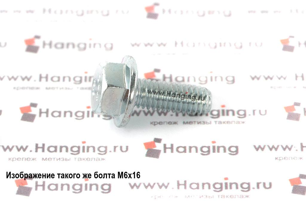 Оцинкованный болт DIN 6921 М6х20 класса прочности 10.9 с шестигранной головкой и фланцем (ГОСТ Р 55739-2013)