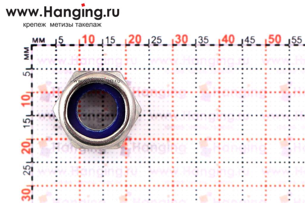 Размеры гайки М10 шестигранной со стопорным кольцом из нержавеющей стали А4 DIN 985