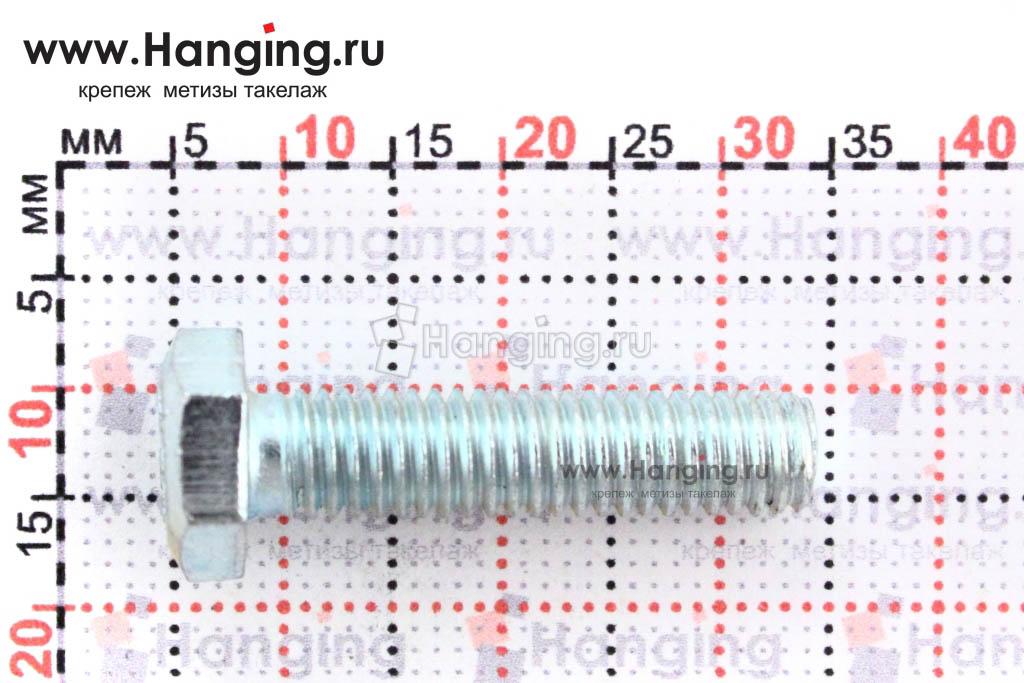 Размеры болта класса прочности 5.8 с полной резьбой 6х25