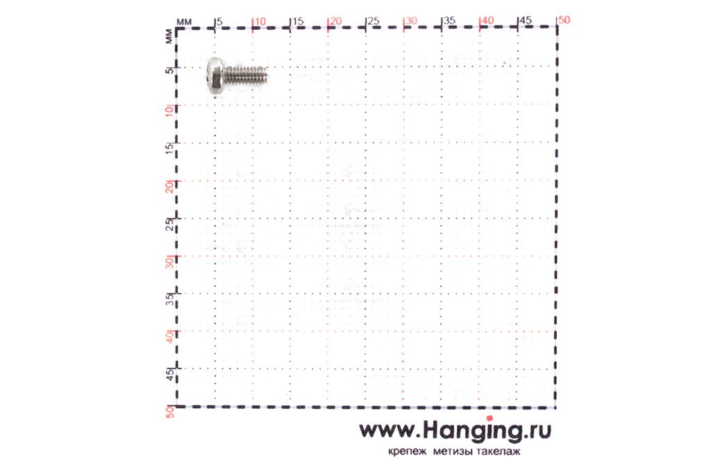 Размеры винта М2,5х6 из нержавейки А4 DIN 7985