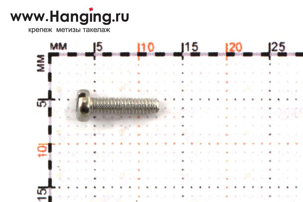 Размеры винта М2х8 c круглой плоской головкой из нержавейки А2 DIN 84