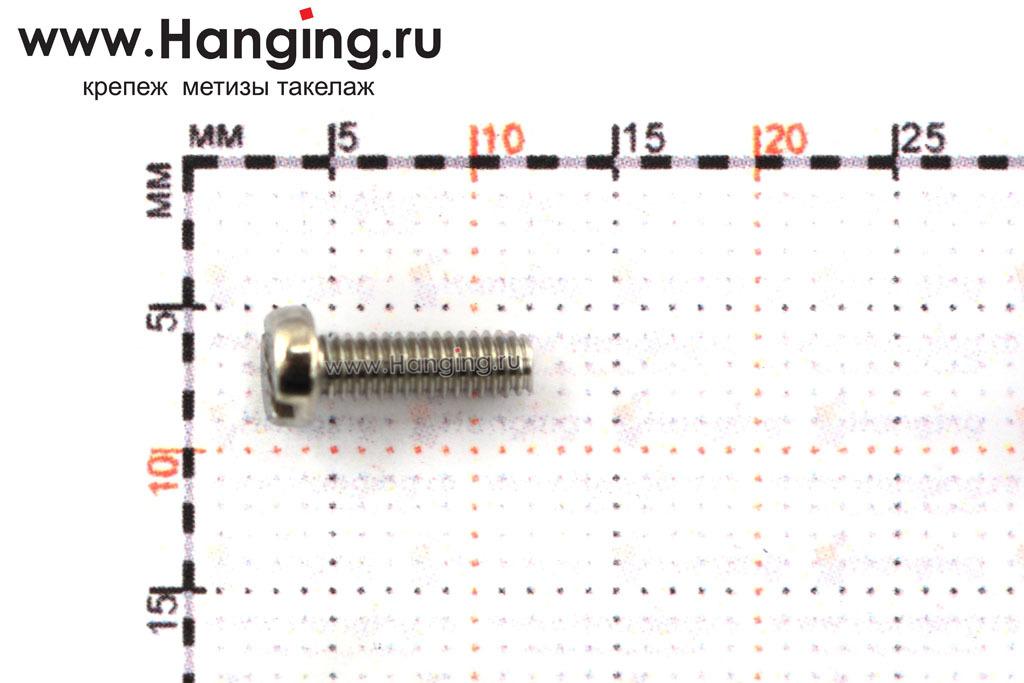 Размеры винта М2,5х8 c круглой плоской головкой из нержавейки А2 DIN 84