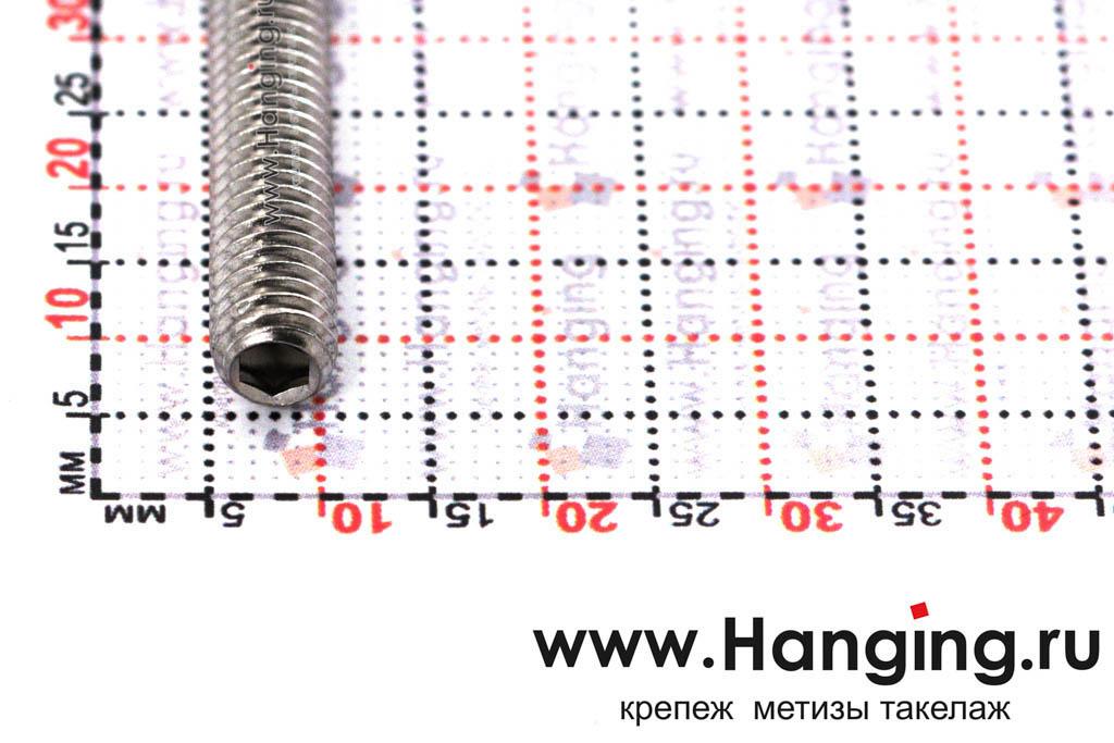 Головка винта М6х50 установочного с внутренним шестигранником и коническим концом из нержавеющей стали А2 DIN 914