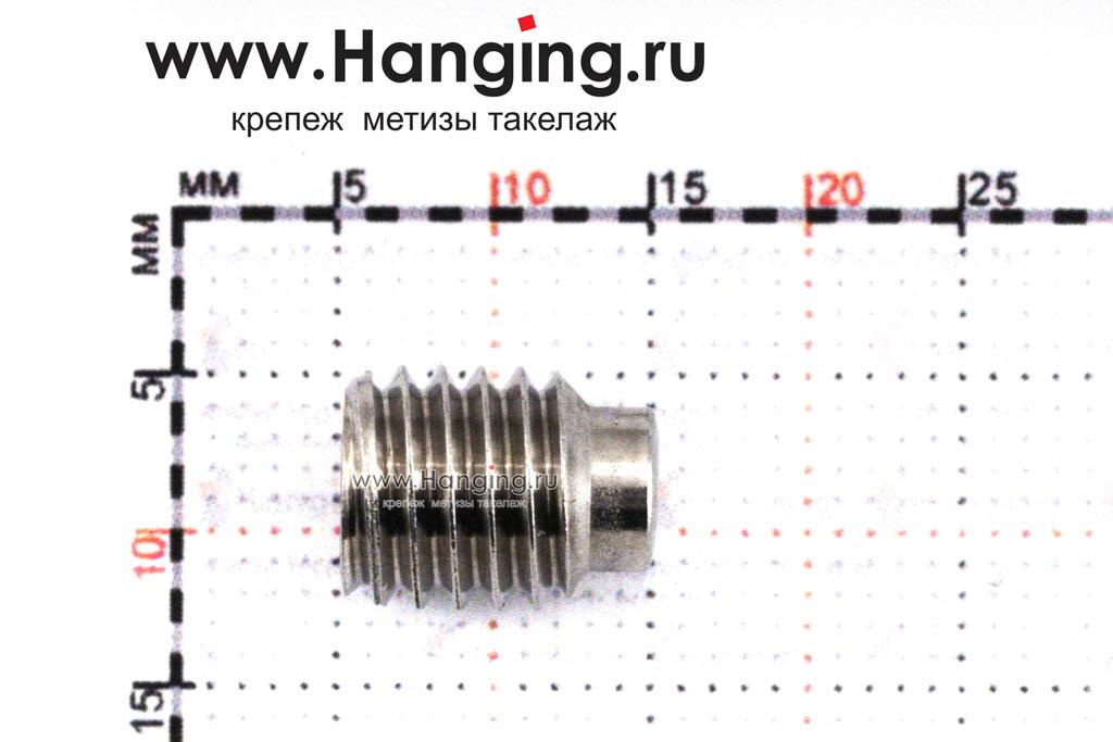 Размеры винта М8х10 установочного с внутренним шестигранником и цапфой (втулкой) из нержавеющей стали А4 DIN 915