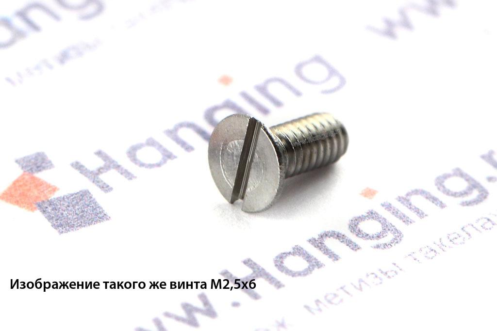 Винт М2,5х4 c потайной головкой из нержавеющей стали А4 DIN 963