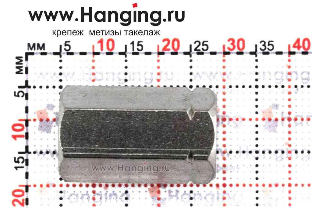 Высота гайки М8 шестигранной соединительной из нержавеющей стали А4 DIN 6334
