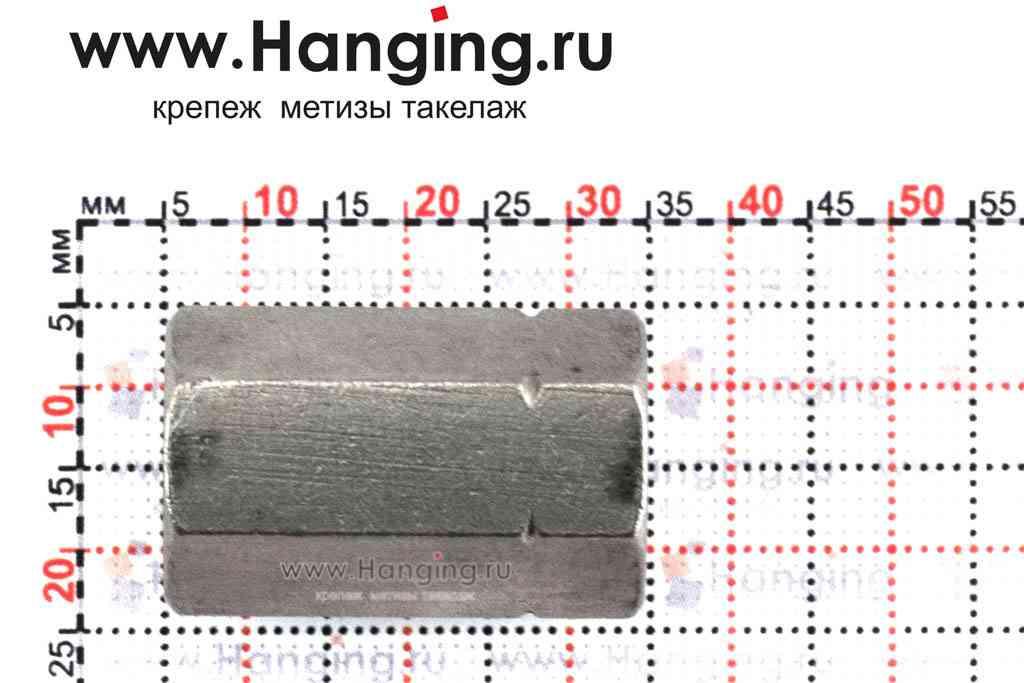 Высота гайки М10 шестигранной соединительной из нержавеющей стали А4 DIN 6334