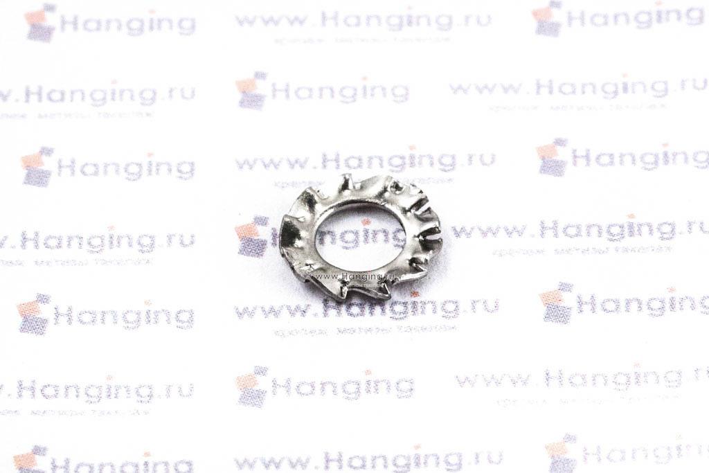 Шайба М5 стопорная с наружными зубьями из нержавеющей стали А4 DIN 6798 Form A
