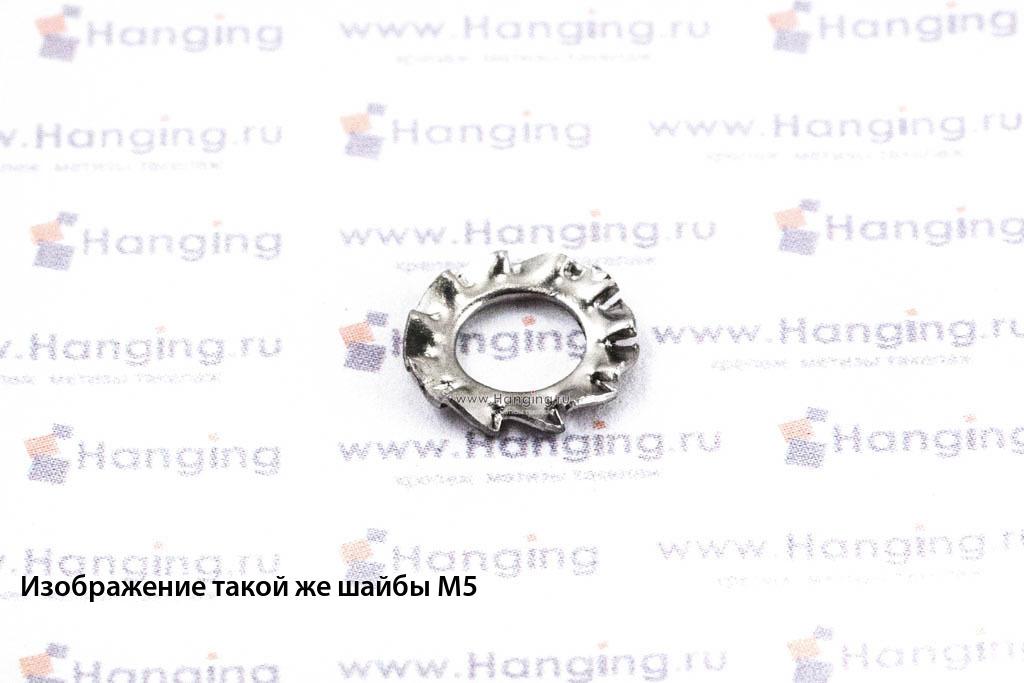 Шайба М6 стопорная с наружными зубьями из нержавеющей стали А4 DIN 6798 Form A