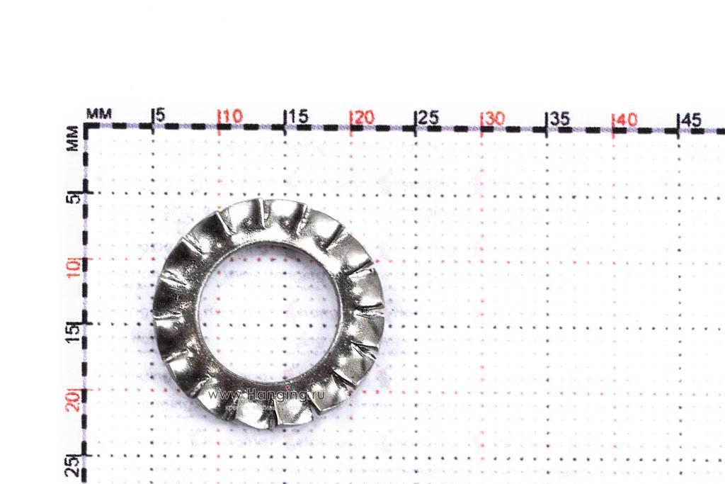 Размеры шайбы М10 стопорной с наружными зубьями из нержавеющей стали А4 DIN 6798 Form A