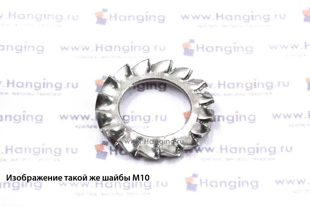 Шайба М14 стопорная с наружными зубьями из нержавеющей стали А4 DIN 6798 Form A