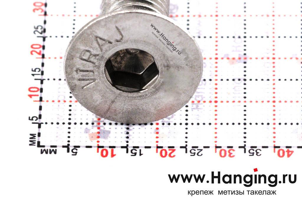 Головка винта М12х30 с внутренним шестигранником и потайной головкой из нержавеющей стали А4 DIN 7991
