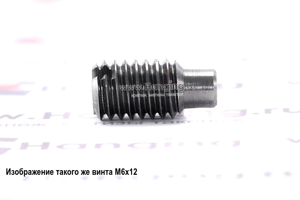 Винт установочный М4х8 с прямым шлицем и цилиндрическим концом неоцинкованный DIN 417