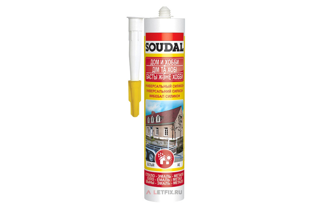 Белый силиконовый герметик Soudal Универсальный силикон 280 мл (105907)