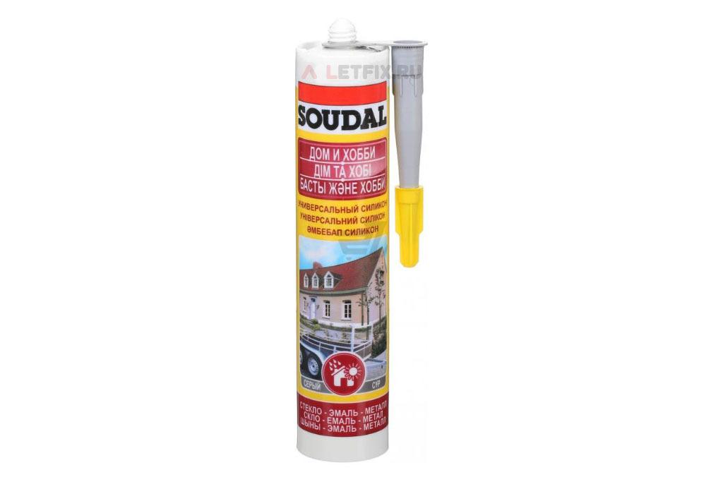 Серый силиконовый герметик Soudal Универсальный силикон 280 мл (105908)