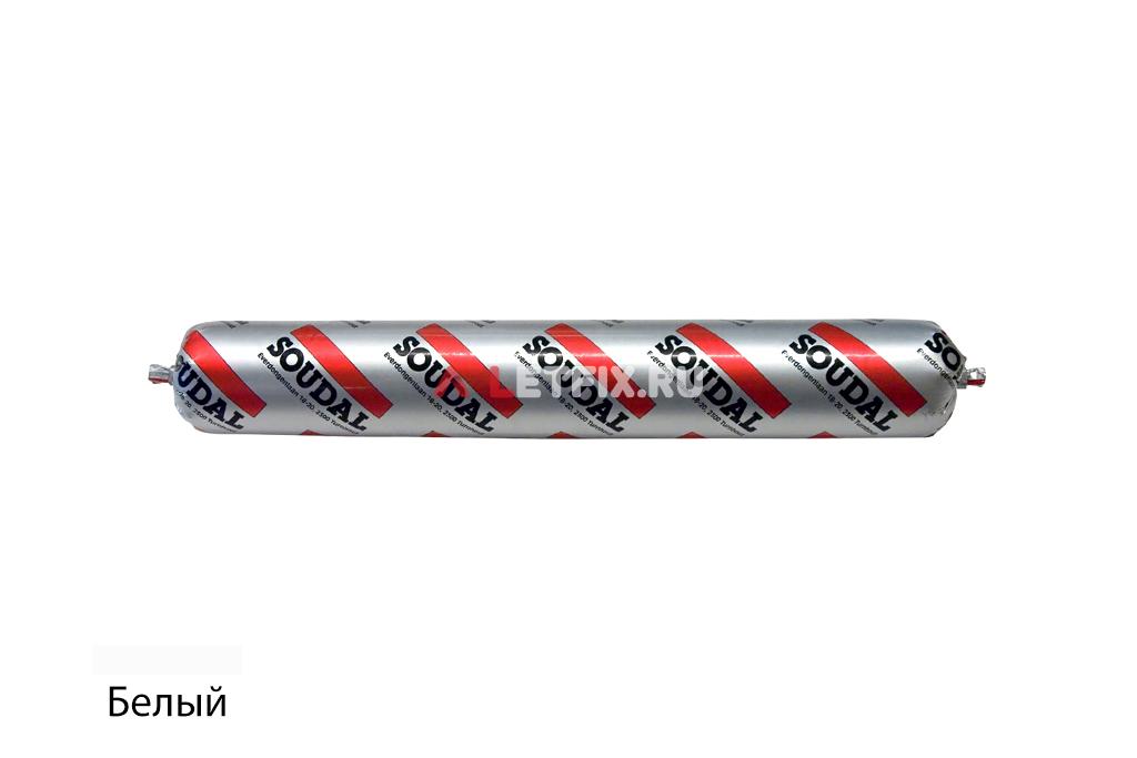 Профессиональный силиконовый герметик для остекления Soudal Silirub AC белый (102545) в колбасе 600 мл