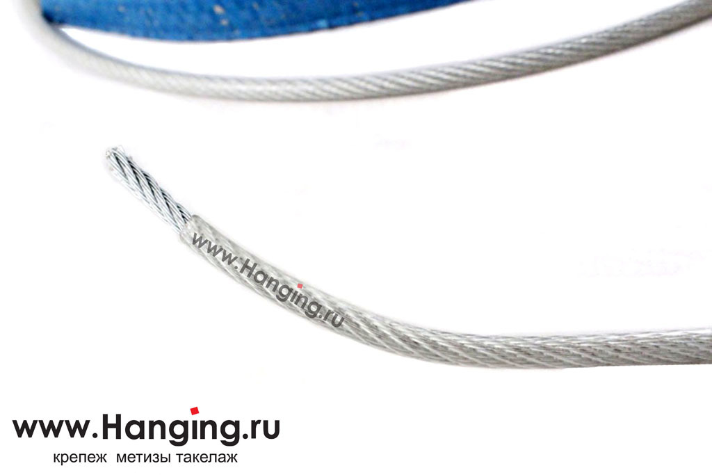 Стальной оцинкованный трос диаметром 6 мм в ПВХ изоляции